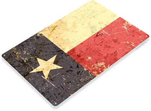 TIN SIGN B648 Texas Flag Patriotic Weathered Rustic Metal Decor