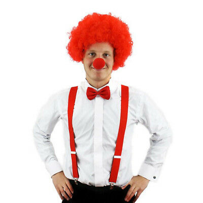 Clown Fancy Dress Make Up Bow Tie Costume Mask Tutu Curly Wig Braces Unisex Kids