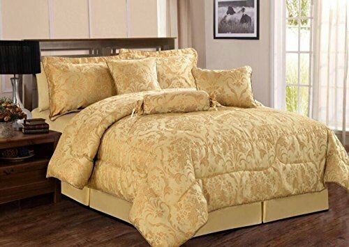 Jacquard 7Pc Quilted Bedspraed Comforter Bed Set Double /& King Size