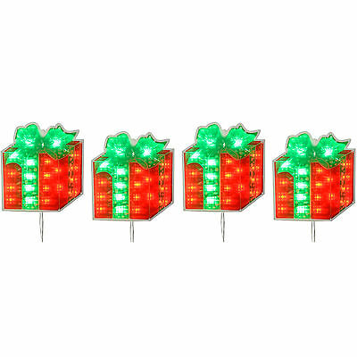 Pre-Lit LED Gift Boxes Silhouette Christmas Decoration, Set of 4, Red