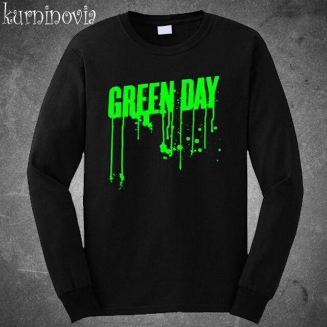 Green Day Green Drip Logo Rock Band Long Sleeve Black T-Shirt Size S to 3XL
