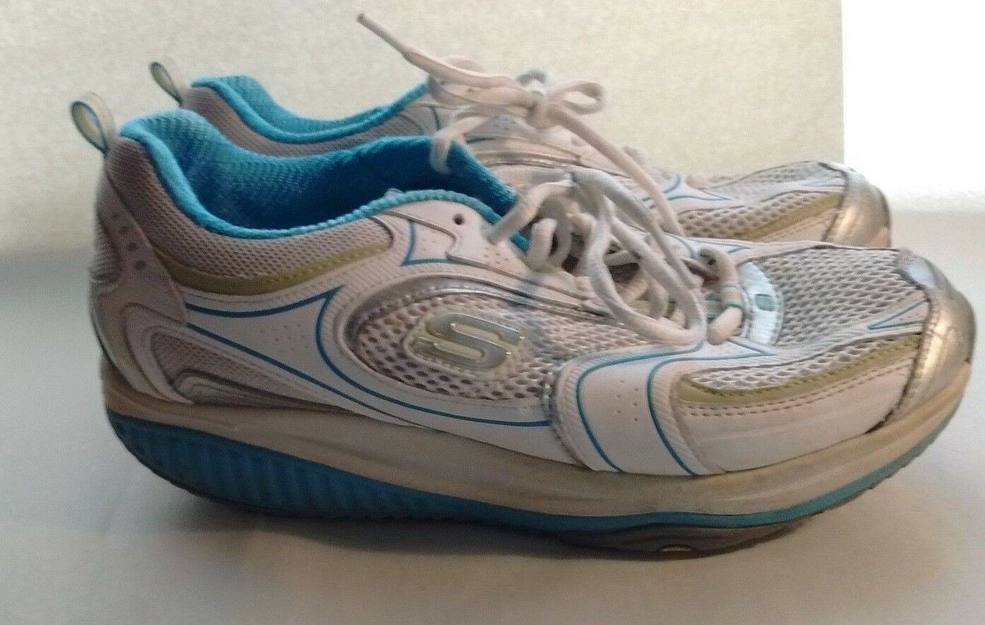 Skechers Shape Ups White Leather bluee Accent Walking Women's shoes 8.5M 38.5