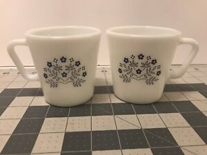Pyrex Coffee Cup Mug Summer Impressions Blueberry Blue Flower D Handle  USA