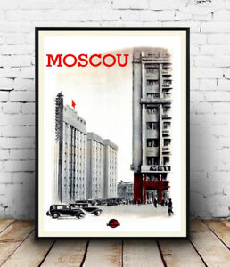 Moscou-Vintage-Moscow-Travel-advert-poster-Wall-art-poster-reproduction