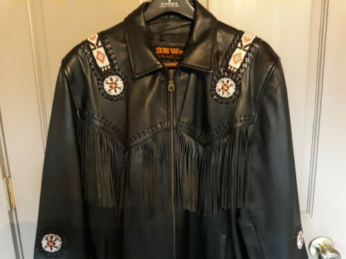 Mens Black Genuine Leather Southwestern Fringed Ja