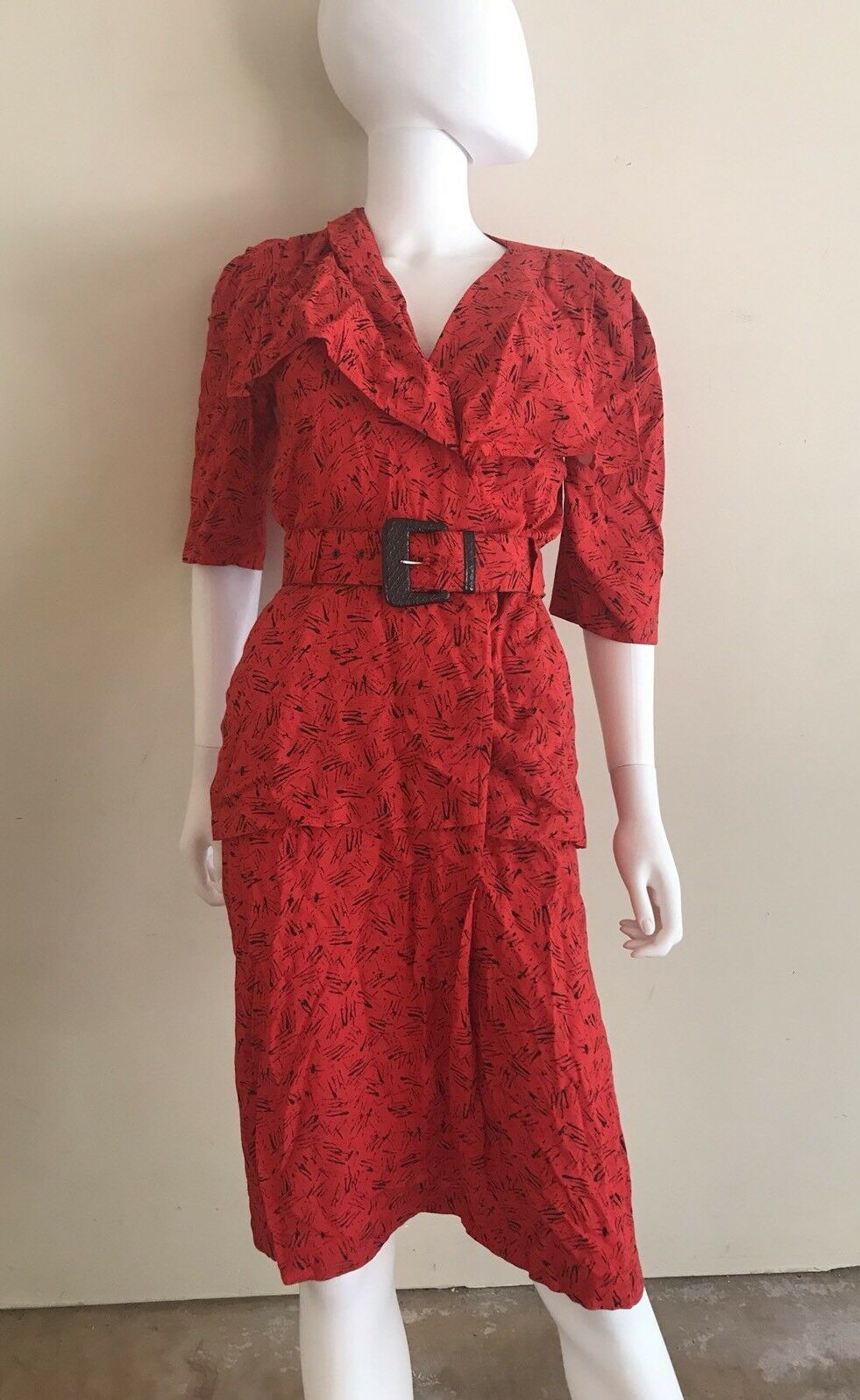 Positive Influence Red Polyester Belted Dress Size Medium