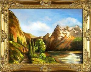 Gemaelde-Natur-Handarbeit-Olbild-Bild-Olbilder-Rahmen-Bilder-G15585-Bilder-Berg