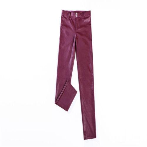 Solid Color Faux Leather High Waist Elastic Slim Woman Skinny Trouser Legging N7
