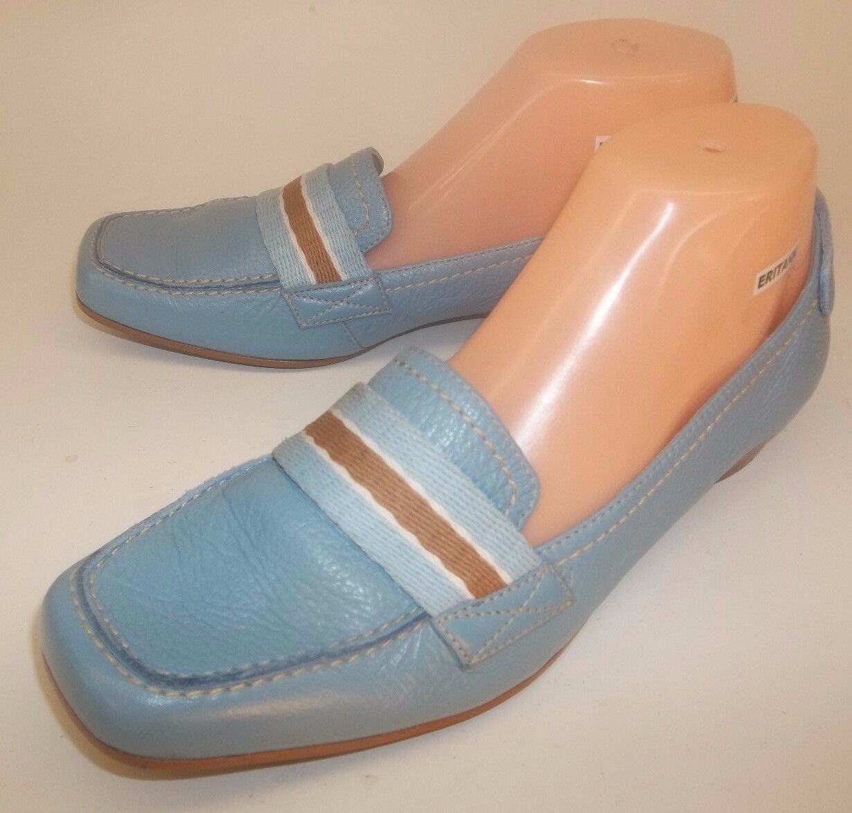 Connie Wos Loafer shoes CLEARWATER US 8.5 M bluee Leather Slip-On Moc Toe Work