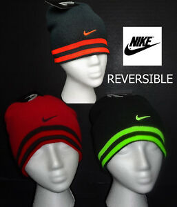 2ff2d1e33a3 NWT NIKE Boys Black or Gray Reversible Beanie  Winter Hat(Size Youth ...