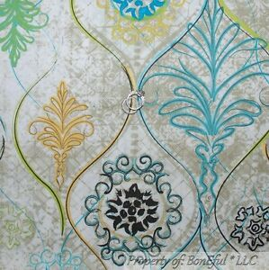 BonEful-Fabric-FQ-Cotton-Brown-Cream-Blue-Green-Flower-Damask-Swirl-Scroll-Lace