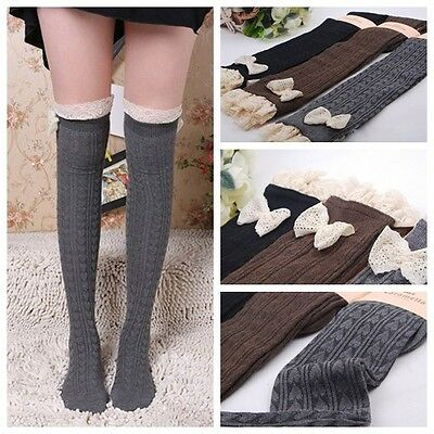 Wholesale 3 Pcs 3 Colors Women Girl Lace Cotton Knee High Socks