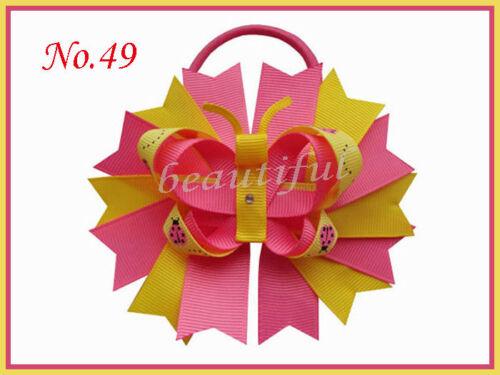 "100 Good Girl 4.5/"" Novel Swallowtail Nest Hair Bows Elastic Rose 176 No."