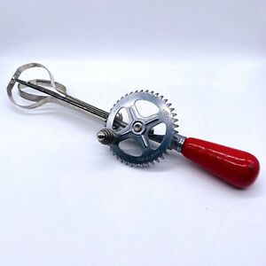 Vintage-1923-A-amp-J-Gear-Crank-Hand-Mixer-Whisk-Egg-Beater-Kitchen-Rustic-Decor-11