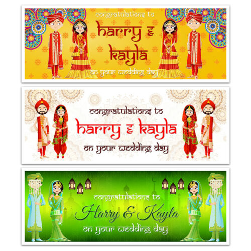 Details about  /X 2 PERSONALISED ASIAN WEDDING DAY NIGHT HINDU BANNERS PARTY WALL DECORATIONS