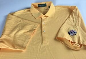 Miller-Lite-Polo-Shirt-Mens-XL-2XL-Yellow-Dri-Fit-Golf-Casual-Cotton-Poly-Beer