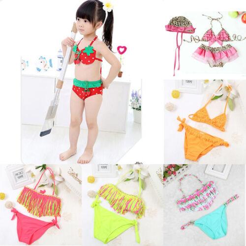 Kids Baby Girls Tankini Bikini Set Swimwear Swimsuit Bathing Beachwear Hat Suit