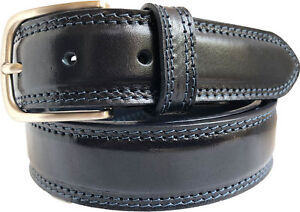 f5c39126cda9 Image is loading MENS-ITALIAN-LEATHER-BELT-NAVY-BLUE-DOUBLE-STITCHED-