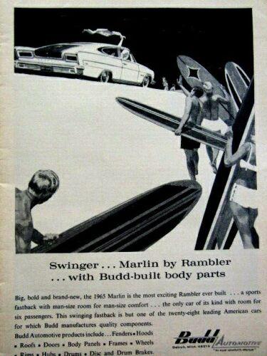 "1965 AMC Marlin Budd Automotive Swinger Original Print Ad-8.5 x 11/"""