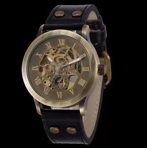 Shenhua-Classic-Men-039-s-Transparent-Skeleton-Automatic-Mechanical-Band-Wrist-Watch