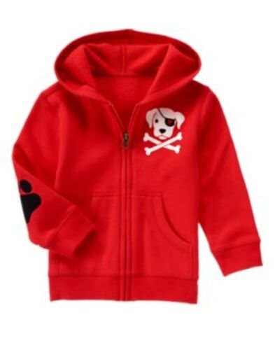 GYMBOREE FUN AT HEART RED w// PIRATE DOG CROSSBONES HOODED JACKET 6 12 18 2 3 NWT