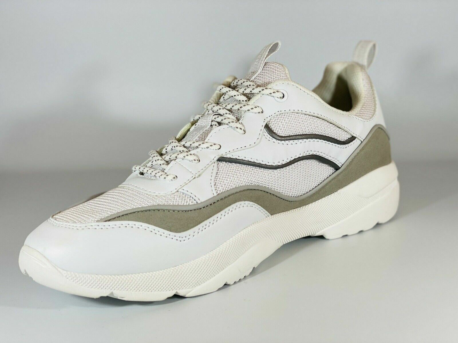 Kurt Geiger Men's Trainers KG Luther White Sneakers Mesh & Faux Leather.