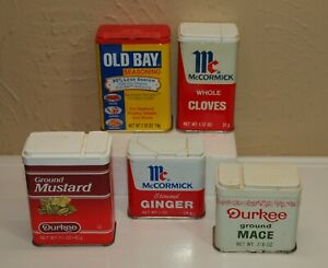 Vintage-Lot-of-5-Metal-SPICE-TINS-McCormick-Durkee-Old-Bay-Mace-Ginger-Mustard