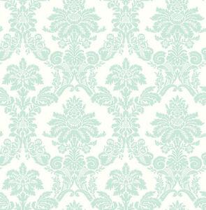 KinderTapete-Designtapete-florale-Ornamente-Feenstaub-Weiss-Cyan
