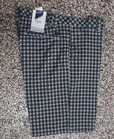 NWT Men's Izod Flat Front XFG Golf Shorts Black Ash Gray Check 32
