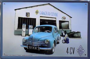 PLAQUE-METAL-publicitaire-vintage-RENAULT-4-cv-GARAGE-30-x-20-cm