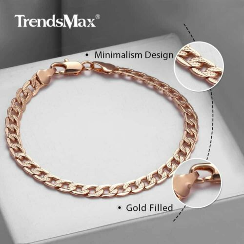 20 Styles 585 Rose Gold Plated Bracelet Mens Womens 7-11inch Trendy Jewelry