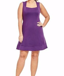 MBN-Sleeveless-Stretch-Jersey-Dolan-Fit-And-Flare-Dress-In-Purple-Size-2X