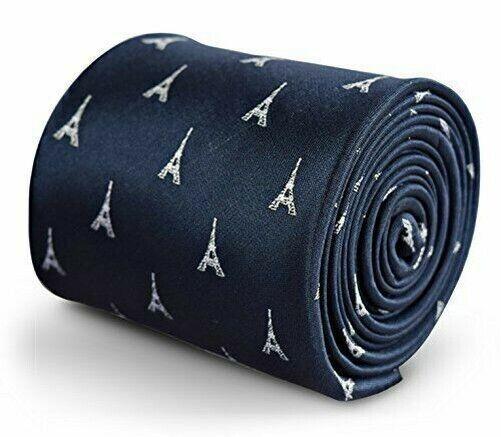 Frederick Thomas Marineblau Krawatte Mit Französisch Eiffelturm Design