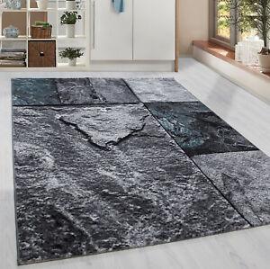 Moderner-Kurzflor-Teppich-Patschwork-Stein-Muster-Wohnzim-Grau-Turkis-Meliert