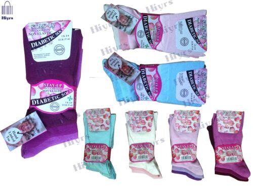 LOTTO donna di cotone Loose Super Morbido Non Elastico DIABETIC Socks STAY-UP UK 4-8