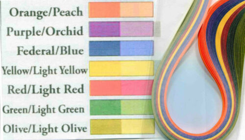Paplin Quilling Paper TWO TONE Colors Multi 1//8 or 1//16 You Choose Width 100pc