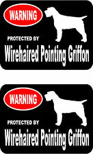 2 protected by Wirehaired Pointing Griffon dog car home window vinyl stickers