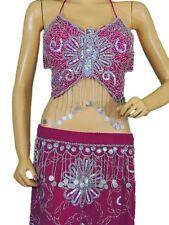Pink Belly Dance Costume Exotic Dancer Clothing Halter Choli Bra Coin Skirt M