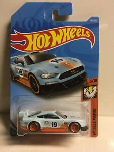 2019-Hot-Wheels-Super-CUSTOM-2018-Ford-Mustang-GT-GULF-with-Real-Riders-Orange
