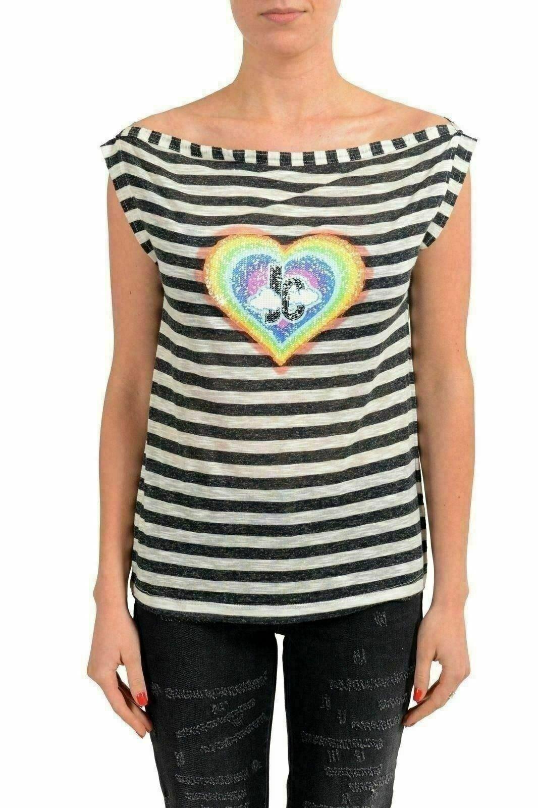 Just Cavalli Linen Multi-Farbe Striped Embellished Woherren T-Shirt US S IT 40
