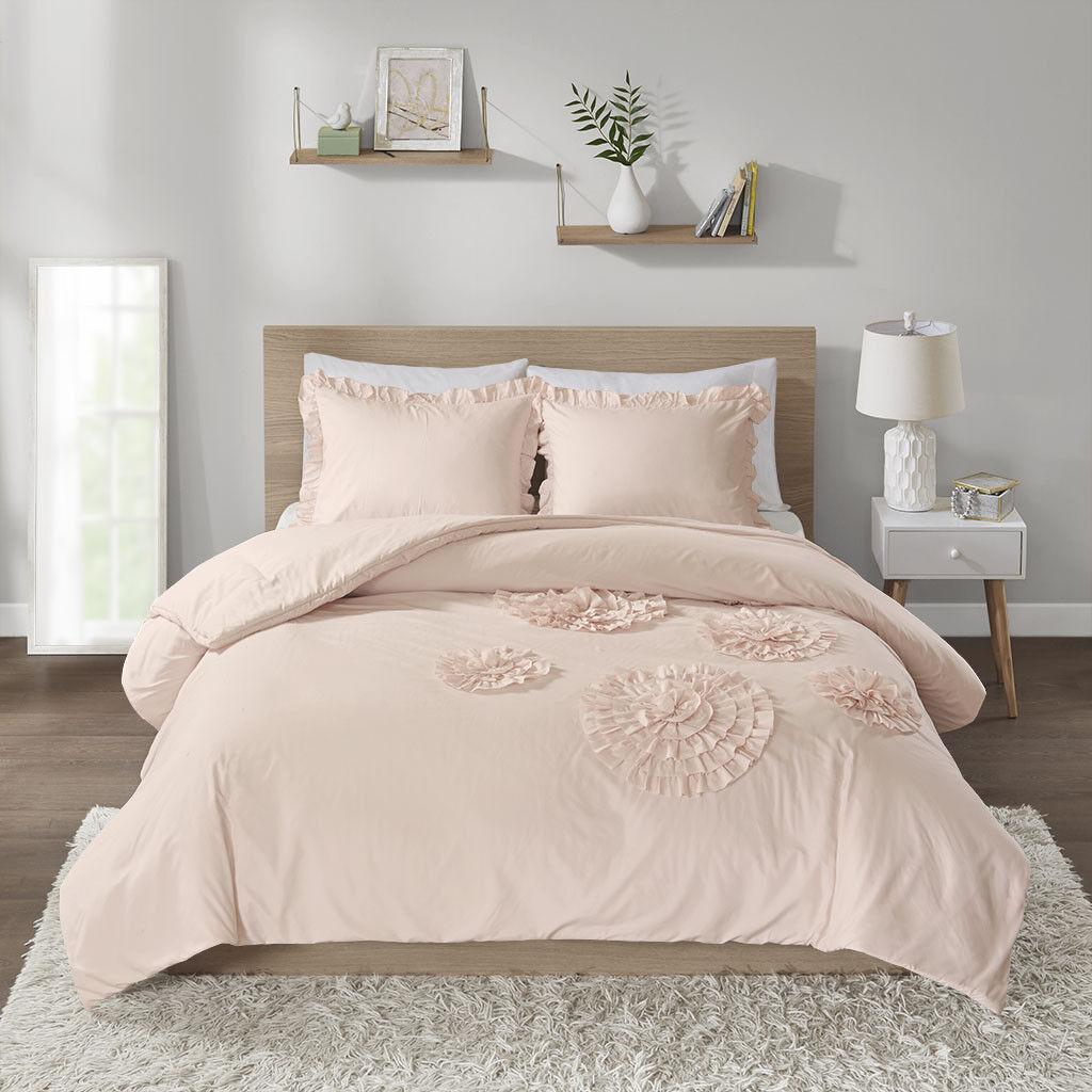 Elegant Blaush Weiß Floral Ruffles Edges 3 pcs Full Queen Comforter Set Twin 2pc