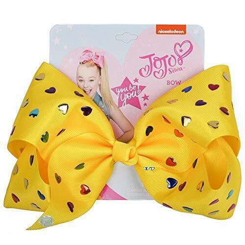 JOJO Siwa Glitter Large Heart-shaped Rainbow Sequins Birthday Signature Hair Bow