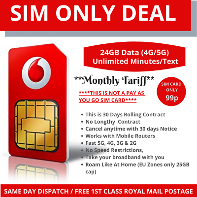 Vodafone Sim Card 24gb Data Unlimited Minutes Text Not Pay As You As Sim Ebay