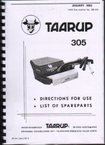"""Taarup /""""305/"""" Mower Conditioner Operator Instruction Parts Manual Book"""