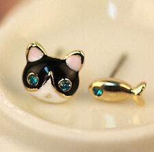 Cat & Fish Enamel Gold Filled Crystal Gem Ear Stud Piercing Earring UK Seller