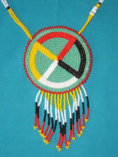 "Beaded Medicine Wheel Necklace 3"" Rosette w/ Fringe on  Aqua background Regalia"