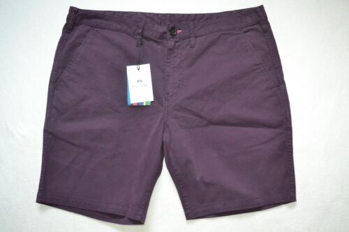"""Paul Smith PS Mens Burgundy Cotton Shorts 36/"""" Brand New"""