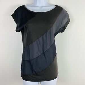 Ann Taylor LOFT Womens Top Sz XS Olive Green Short Sleeve Round Neck VA56
