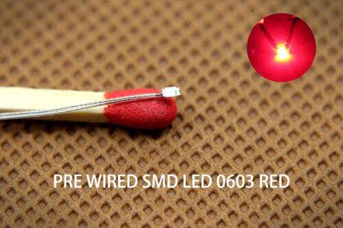 T0603R 20pcs Pre-soldered micro litz wired leads RED 0603 SMD Led NEW