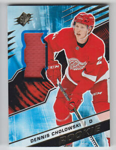 2018-19-UD-SPX-DENNIS-CHOLOWSKI-RC-JERSEY-MATERIAL-ROOKIES-R-DC-Authentic-Wings